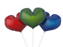 心脏形状五颜六色的党气球 隔绝在白色backgroun 免版税库存图片