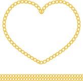 心脏形状传染媒介首饰金黄链子  库存照片