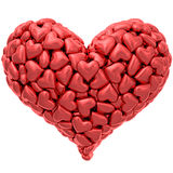 心脏形状在白色隔绝的组成由许多红色心脏 库存照片