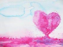 心脏形状婚姻的,情人节,水彩爱护树木 免版税库存照片