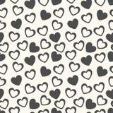 心脏形状无缝的样式 黑色白色 免版税库存照片