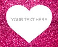 心脏形状有桃红色闪烁背景 图库摄影