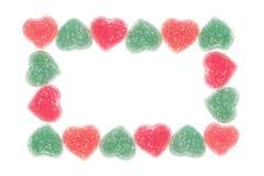 从心脏形状果冻糖果的框架 免版税图库摄影
