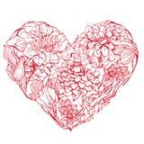 心脏形状由手拉的美丽的花制成 免版税库存照片