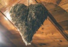 心脏形状由皮革制成 库存图片