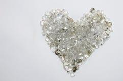 心脏形状由金刚石做成 库存图片
