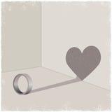 心脏形状的圆环cating的阴影 免版税图库摄影