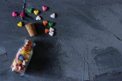 心脏形状糖洒 免版税图库摄影