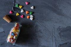 心脏形状糖洒 库存图片