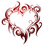 心脏形状纹身花刺 库存图片