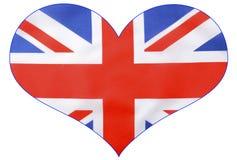 心脏形状英国英国国旗旗子 免版税库存照片