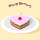 心脏形状蛋糕用樱桃 库存例证