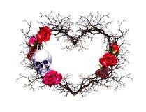 心脏形状,人的头骨 枝杈,玫瑰色花 在难看的东西哥特式样式的水彩 库存图片