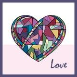 心脏手拉的传染媒介例证 情人节假日卡片 在现代样式的抽象爱背景 向量例证