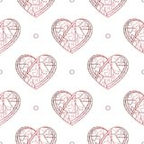 心脏手拉的传染媒介无缝的样式 重点 表面设计的,纺织品爱纹理,包裹 库存例证