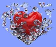心脏打碎了冰冷的束缚 免版税图库摄影