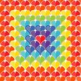 心脏无缝的纹理绘了彩虹颜色 库存照片