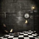 心脏时钟,脏的steampunk样式 向量例证