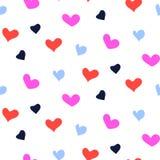 心脏明亮的莓果颜色塑造颜色无缝的传染媒介样式 库存图片