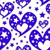 心脏星浪漫无缝的样式 免版税图库摄影
