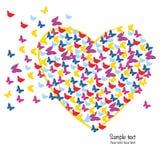 心脏有五颜六色的蝴蝶背景 库存图片