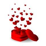 心脏有飞行心脏的礼物盒 免版税库存图片