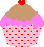 心脏杯形蛋糕 库存图片
