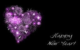 心脏标志由五颜六色的烟花做成,新年快乐卡片 向量例证