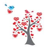 心脏树和鸟 免版税库存图片