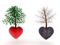 心脏树石头和爱 库存图片