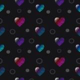 心脏样式在黑色的颜色黑暗 免版税库存照片