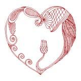 心脏框架由被装饰的花卉设计制成 库存图片