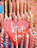 心脏棒棒糖 库存照片