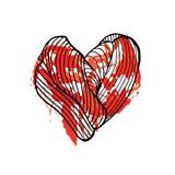 心脏流血的手拉的速写的例证 乱画图表 库存图片