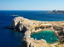 心脏海湾在Lindos,罗得岛,希腊 免版税库存照片