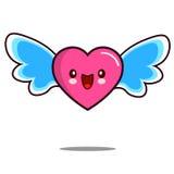 心脏漫画人物与翼舱内甲板设计传染媒介的象kawaii 免版税库存照片