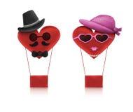 心脏爱字符男人和妇女葡萄酒样式 免版税库存照片