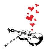 心脏爱播放歌曲的音乐小提琴 皇族释放例证