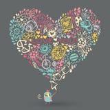 心脏爱样式和猫头鹰。 库存图片