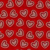 心脏珍珠装饰或情人节无缝的背景 免版税库存照片