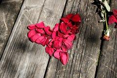 心脏由玫瑰做成在葡萄酒桌 库存图片