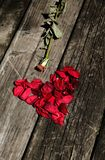 心脏由玫瑰花瓣制成在木桌 免版税库存图片