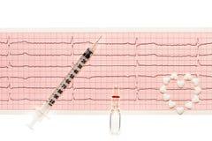 心脏由白色心脏形状片剂、透明白色玻璃瓿有药物的和塑料注射器制成在纸ECG发生 免版税库存照片