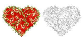 心脏由草莓制成 向量例证