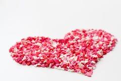 心脏由许多一点心脏白色桃红色制成和红色 库存照片
