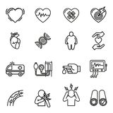心脏病、被设置的心脏病发作和症状象 免版税库存照片