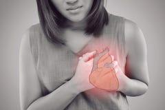 心脏病发作症状 库存图片