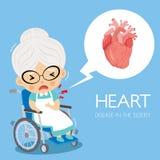 心脏病学心脏疾患在grandmorther的 皇族释放例证