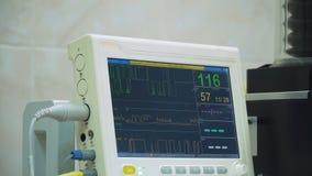心脏病显示器在手术室 图库摄影