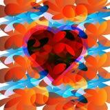 在花背景的心脏 免版税库存照片
